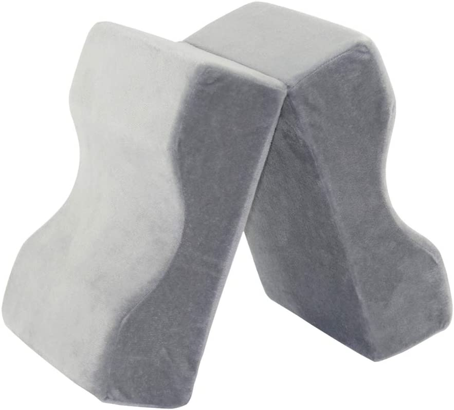Breathable Memory Foam Knee Pillow Leg Positioner Hip Sciatica Back Pain Relief Cushion for Back Side Stomach Sleepers Gray