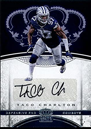 ... Road Super  fake c6a31 906fb 2017 Panini Crown Royale Rookie Auto 50 Taco  Charlton Cowboys Football NFL ... 6cac6d8f0