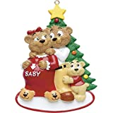 Personalized Expecting Family Christmas Ornament for Tree 2018 - Baby Coming for Cute Bear Pregnant Mom with Bump - Dad Boy Girl Shower Gender Neutral 2nd Child 4th Member Couple - Free Customization