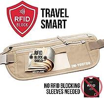 0d870e8846eb ZM-YOUTOO Travel Money Belt RFID Blocking Hidden Waist Passport Wallet  Money Pouch Waterproof Security Pouch for Passport, Mobile Phone, Cards for  Man ...