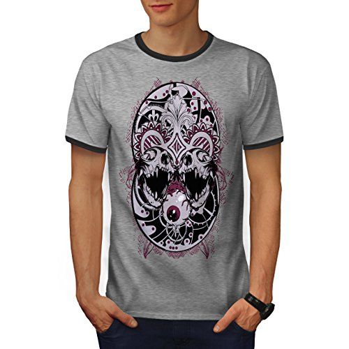wellcoda Eyeball Creepy Horror Mens Ringer T-Shirt, Eyeball Graphic Print Tee Heather Grey/Heather Dark Grey M - Eye Ringer T-shirt