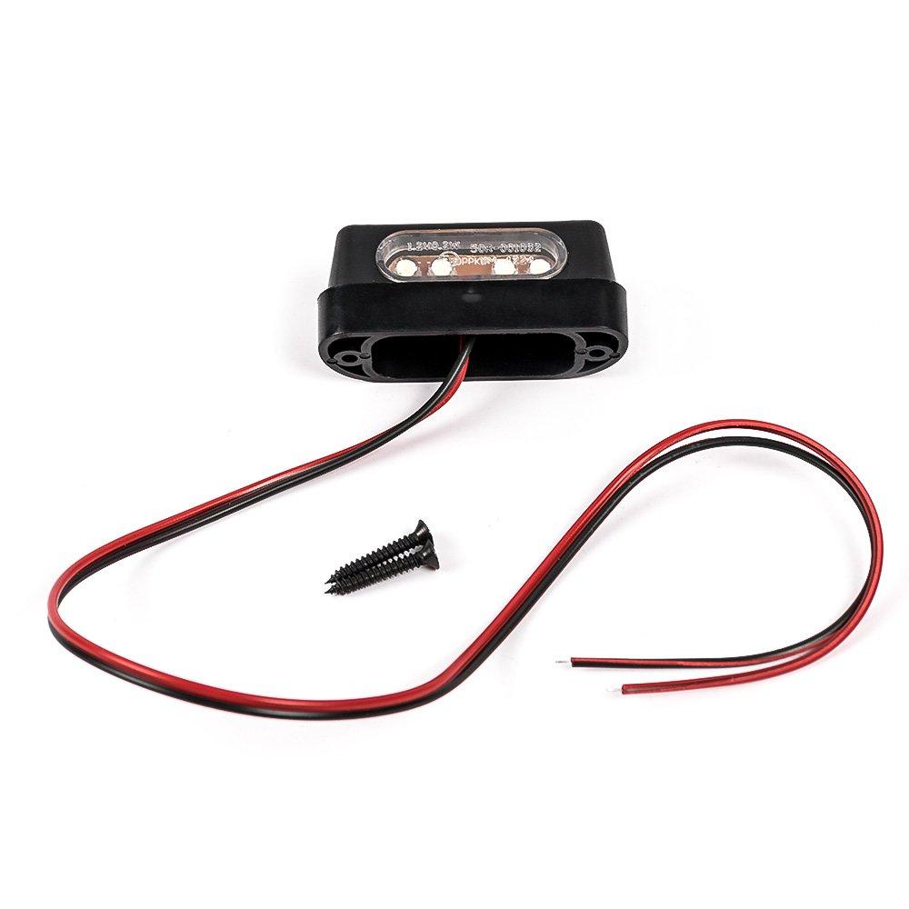Lumière LED pour plaque d'immatriculation arrière de moto - Qualité supérieure - 12V - Universelle - Noire (Emark) Nawenson