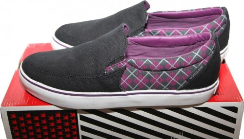 Dekline Skateboard Shoes / Slip Ons / Slipper Captain Black/Purple - Slip On Shoes