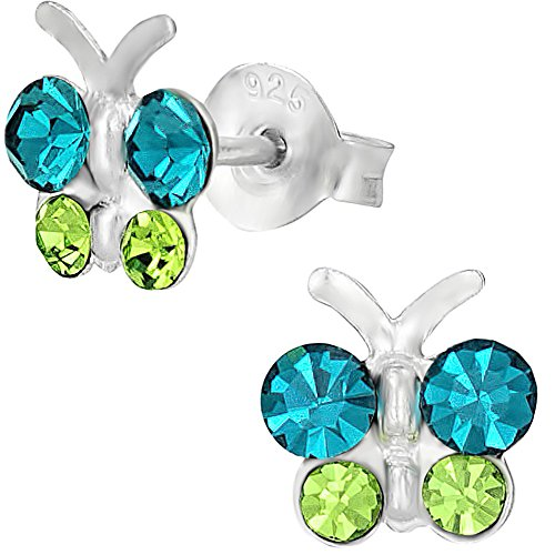 Hypoallergenic Sterling Silver Teal & Green Crystal Butterfly Stud Earrings for Kids (Nickel Free)