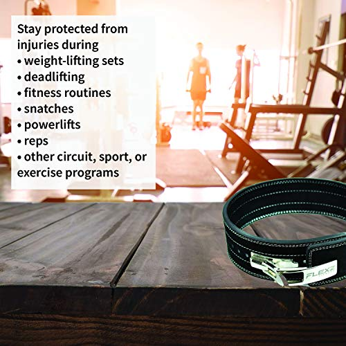 Flexz Fitness Lever Buckle Powerlifting Belt 10mm Weight Lifting Black X Large by Flexz Fitness (Image #4)