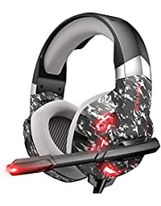 RUNMUS Gaming Headset Xbox One Headset with 7.1 Surround Sound Stereo, PS4 Headset with Noise Canceling Mic & LED Light, Compatible with PC, PS4, Xbox One Controller, Camouflage