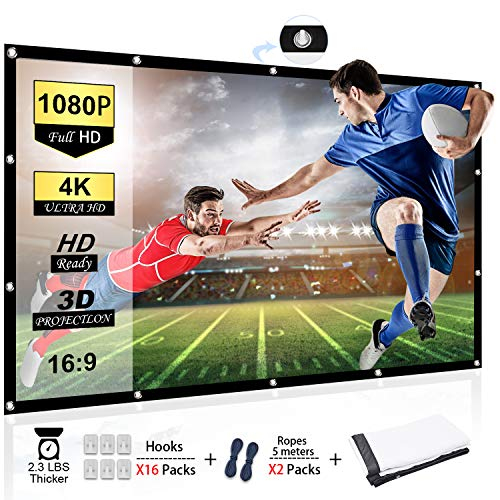 Sale!! Chalpr Projector Screen 120 inch 16:9 HD Anti-Crease Portable Projection Screen, Foldable Ind...