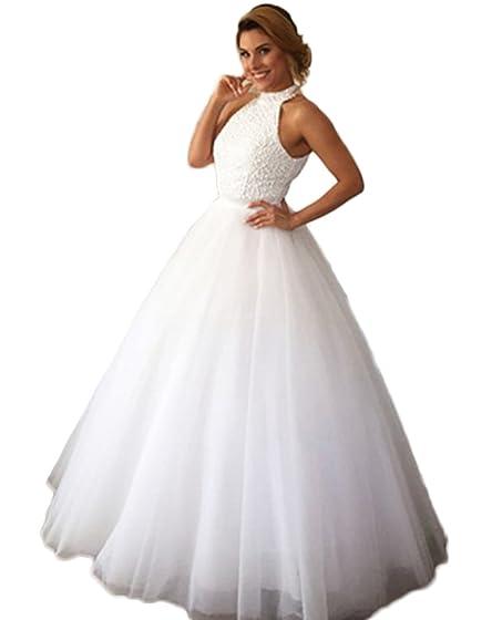 QiJunGe Beaded Halter Ball Gown Wedding Dresses Keyhole Back Bridal ...