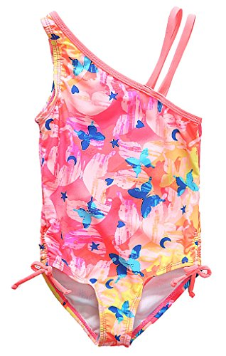 Attraco Big Girls One-Shoulder Butterfly Print One Piece Cute Swimsuit Size 7