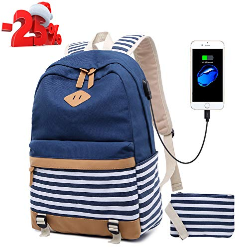 Canvas Bookbags School Backpack Classic Schoolbag College Laptop USB Backpack Travel Camping Backpack for Teen Girls and Women