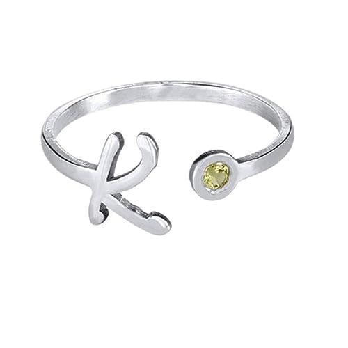 5baf4d71203ec Amazon.com: set adil Personalized Silver Rings Rose Gold Initial ...