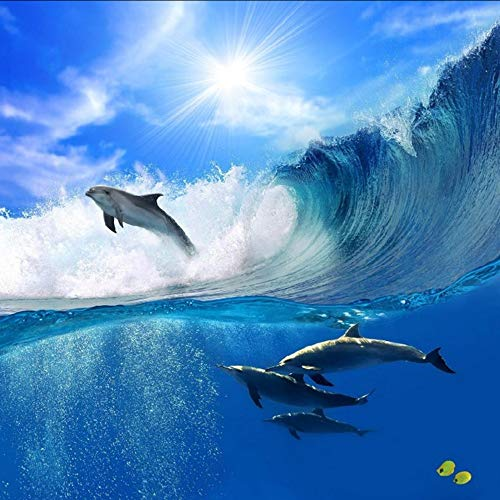 - Dalxsh Custom Photo Wallpaper 3D Large Mural Living Room Sofa Children Cartoon Sky Dolphin Sea Wallpaper-120X100Cm