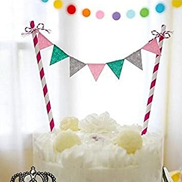 Amazon Rainbow Baby Kids Birthday Cake Topper Flag Garland Banner Bunting Party Decor Pink Blue Gray