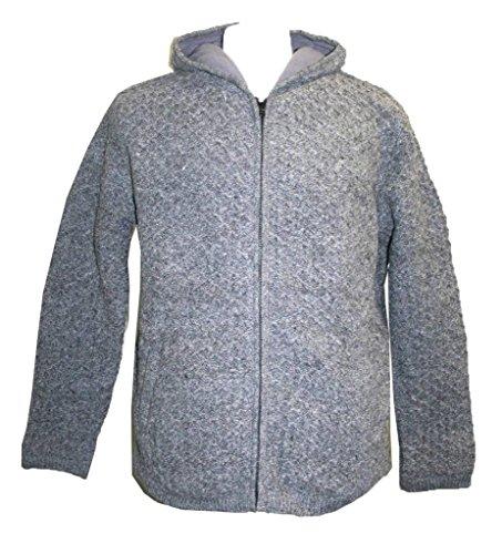UF17 Unisex Lamb Wool Fleece Lined Sherpa Jacket Sweater [Top Grey, XXL]