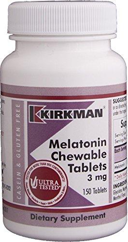 Kirkman Melatonin 3mg Sublingual || 150 Chewable Tablets || Menthol flavor || promotes