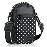 Compact Camera Case Sling Bag Point and Shoot Polka Dot Pouch with Rain Cover , Accessory Pockets and Shoulder Strap by USA GEAR- Works With Olympus Pen-F , Stylus SH-3 , Tough TG-870 and More Cameras