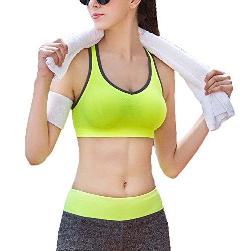 Ancdream Sujetador Deportivo sin Costura para Mujer (Estilo Racerback). Para Yoga, Estiramiento, Running Verde