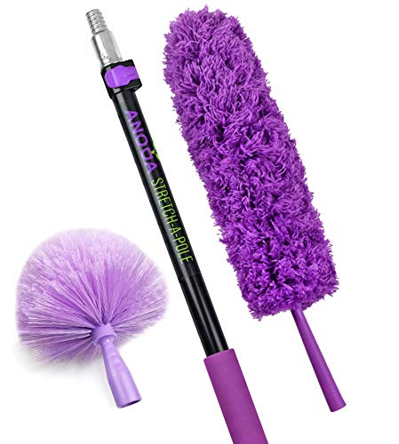 Anoda Cobweb Duster with Extension Pole (2-5FT): Bonus Microfiber Feather Duster Included- Extendable Dusters for Cleaning Set with a Heavy Duty Aluminum Telescoping Pole (Lilac)
