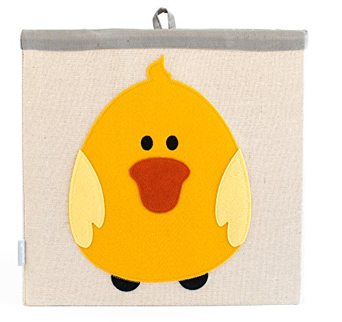 Large Collapsible Cube Storage Bin :: 100% Jute Canvas Toy Basket for Baby Items, Kids Clothes & Much More, 13 x 13 Square, with Adorable Felt Animal Design, Duck, Yellow by Grey Bee
