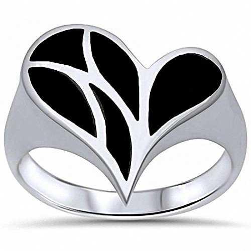 Fashion Heart Simulated Black Onyx Ring 925 Sterling Silver,Size-9