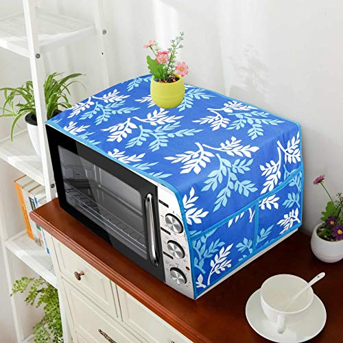 E-Retailer® Combo Set of 1Pc Fridge Top Cover with 6 Pockets, 3Pc Fridge Handle Cover, 1Pc Microwave-Oven Top Cover With 4 Pockets And 1Pc Top Load Washing Machine Cover (BlueLeaf, 6 Pc Set) 51sBCTzjAFL India 2021