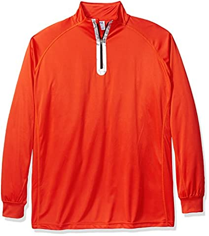 Russell Athletic Men's Big and Tall Quarter Zip Performance Sweater, Orange/Black, 5X ()