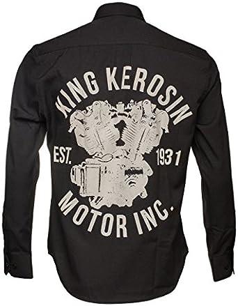 King Kerosin Hombre Rocker Biker Kult Camisa Motor inc. Negro ...