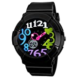 VIGOROSO Women's Girl Fashion Digital Analog Date Silicone Jelly Waterproof Sport Watch(Black&Multicolour)