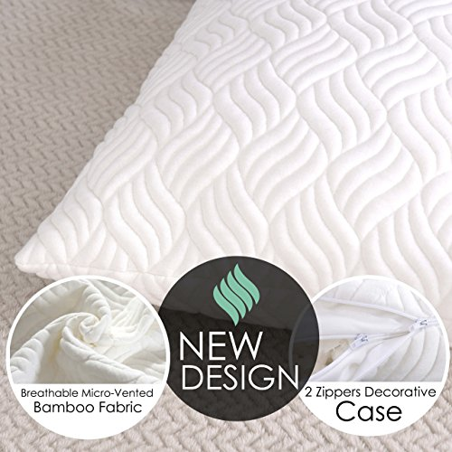 TRANZZQUIL Hypoallergenic Bed Pillows for Sleeping, Shredded Memory Foam Pillow with Dust Mite Resistant Bamboo Cover, Adjustable Loft for Back and Side Sleeper,Queen size.