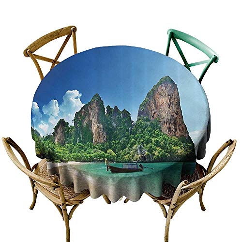 Jbgzzm Fabric Dust-Proof Table Cover Tropical Decor Railay Beach in Krabi Thailand Small Boat Crystal Water Rock Cliff Tropical Landscape Table Decoration D71 Bule Green