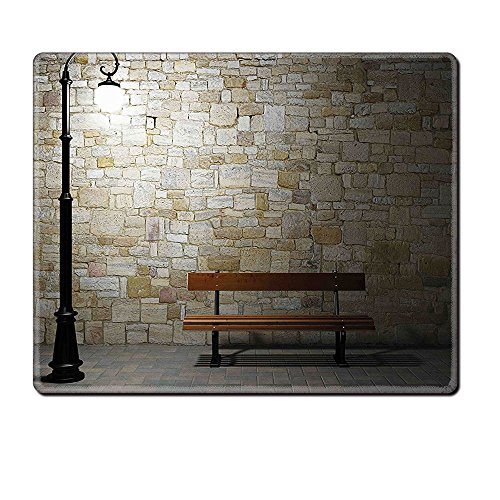 Mouse Pad Unique Custom Printed Mousepad Street Decor Modern Avenue At Dark Night With A Open Lamp And Bench And Stone Wall Behind Image Multi Stitched Edge Non Slip (Avenue Baby Lamp)