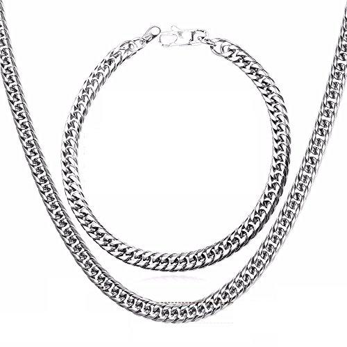 Cadenas De Oro Plata Men Para Hombres Laminada Necklace   Bracelet Set Men Jewelry Cuban Link Chain  26  Stainless Steel  Ca009