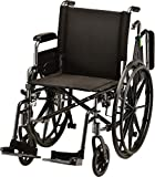 NOVA Lightweight Wheelchair with Flip Up Desk Arms (for Easy Transfer), Adjustable & Easy Release Footrests, Safety Anti-Tippers, Choose from 3 Seat Widths - 16', 18'& 20', Weighs only 32 lbs.