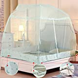 DE&QW Foldable child mosquito cover castle tent, Sleep No bottom mosquito curtain-blue Twin2