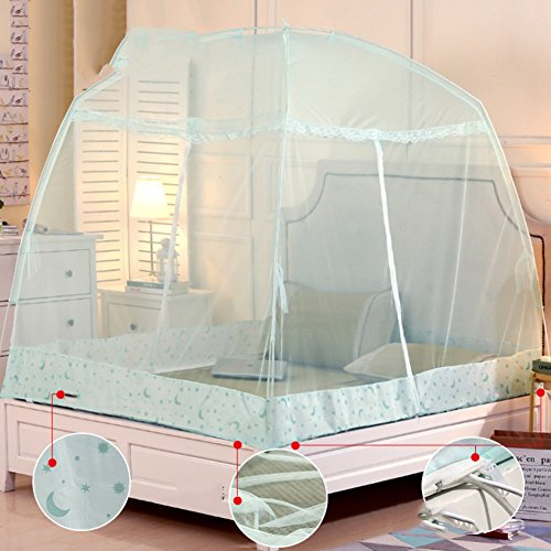 DE&QW Foldable child mosquito cover castle tent, Sleep No bottom mosquito curtain-blue Twin2 by DE&QW