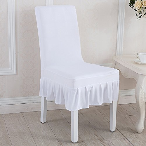Awland Dining Chair Cover Slipcovers Seat Protector Short Stretch Spandex Dining Room Banquet Chair Seat Cover for Kitchen Wedding Bar Hotel Party Home (Set of 4) - White by Awland (Image #1)