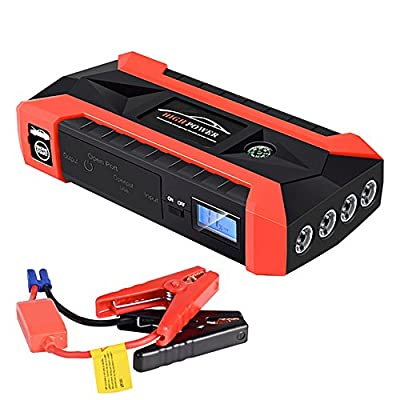 Car Detection Light 600A Peak 20000Mah Car Jump Starter,12V Portable Vehicle Battery Booster(Up To 6.0L Gas Or 3.0L Diesel Engine), Multifunction Power Bank Auto Emergency Kits With Smart Clamps