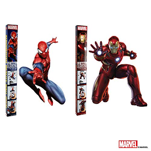 Marvel Spider-Man & Iron Man Bundle Augmented Reality Stickers for Kids Rooms - Kids Wall Decals for Bedroom are Easy to Put Up On Wall & Peel Off - Best Bedroom Décor by Marvel (Image #9)