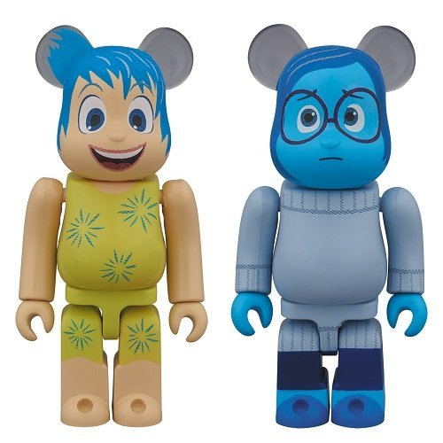 "BE @ RBRICK Bear Brick JOY & SADNESS 2PACK ""Inside Out"" ABS & PVC painted trading action figure"
