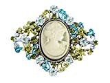 Alilang Diamond-shape Cameo Crystal Rhinestone Fashionable Antique Inspired Brooch Pin