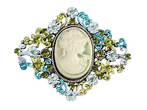 Brooch Peridot - Alilang Diamond-Shape Cameo Crystal Rhinestone Fashionable Antique Inspired Brooch Pin