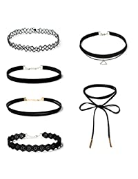 6pcs Sexy Gothic Punk Collar Necklace Velvet Tattoo Lace Choker With Pendant Jewelery Bobury