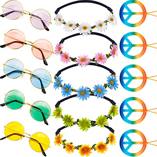 Hippie Dressing Accessory Set, Includes 5 Pieces Hippie Sunglasses Retro Round Sunglasses, 5 Pieces Rainbow Peace Sign Necklaces, 5 Pieces Daisy Sunflower Headbands for Summer Party Supplies,5 Colors]()
