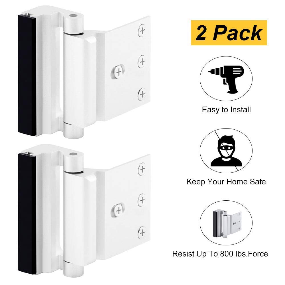 "Home Security Door Lock, Childproof Door Reinforcement Lock with 3"" Stop Withstand 800 lbs for Inward Swinging Door, Upgrade Night Lock to Defend Your Home (White-2 Pack)"