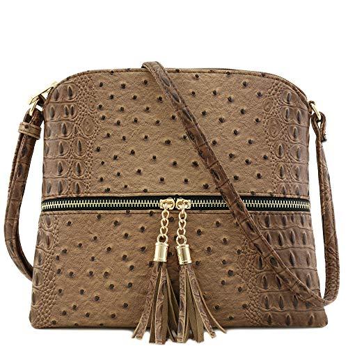 Ostrich Cross Body Bag - Faux Ostrich Skin Medium Crossbody Bag with Tassel Taupe