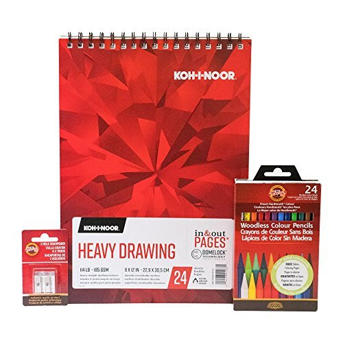 Koh-I-Noor Colored Pencil Drawing Bundle Includes Progresso Woodless Colored Pencils 9 x 12 Inch Drawing Paper Pad Metal Sharpener 1 Bundle (KOH4) [並行輸入品] B07DZK5TS5
