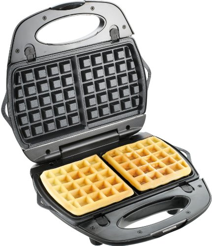 T-fal SW6100 EZ Clean Easy to Clean Nonstick Sandwich and Waffle Maker with Removable Dishwasher Safe Plates, 2-Slice, Silver by T-fal (Image #2)