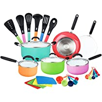 HULLR Aluminum Ceramic Nonstick All In One Kitchen Cookware Set Includes Stock Pot, Dutch Oven, Frying/Sauté Pan, Saucepan, Serving Utensils, Measuring Cups/Spoons, Induction Base (30 Ct)Multi color