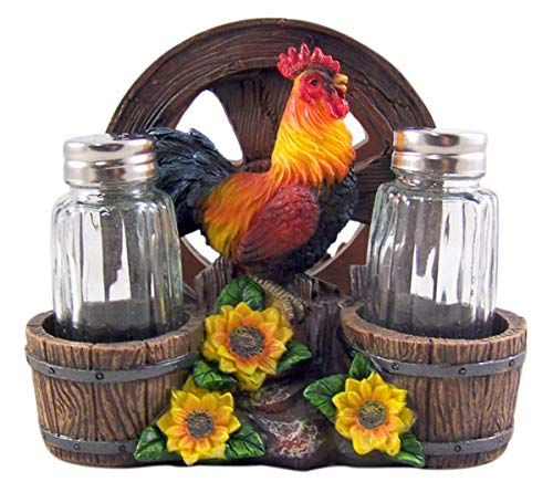 Rooster With Wagon Wheel Salt and Pepper Shaker and Napkin Holder 6 Inch (Shakers Included)