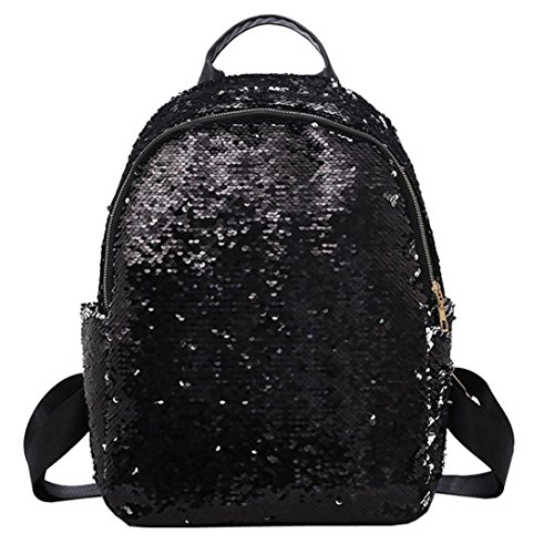 NXDA Soft Leather Sequins School Bag Satchel Travel Shoulder Backpack with Hair Ball Ornaments For Women and Girls (Black)